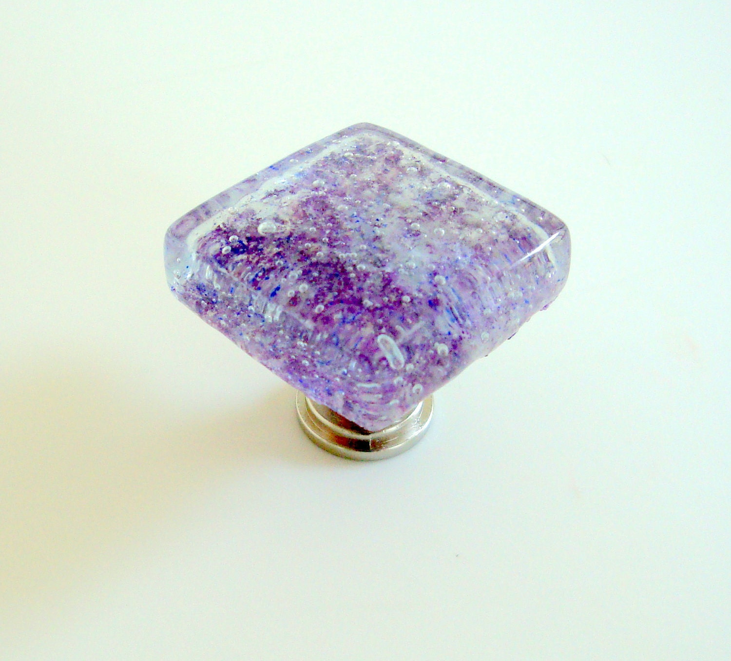 Lavender Fused Glass Cabinet Knob Drawer Pull Hardware