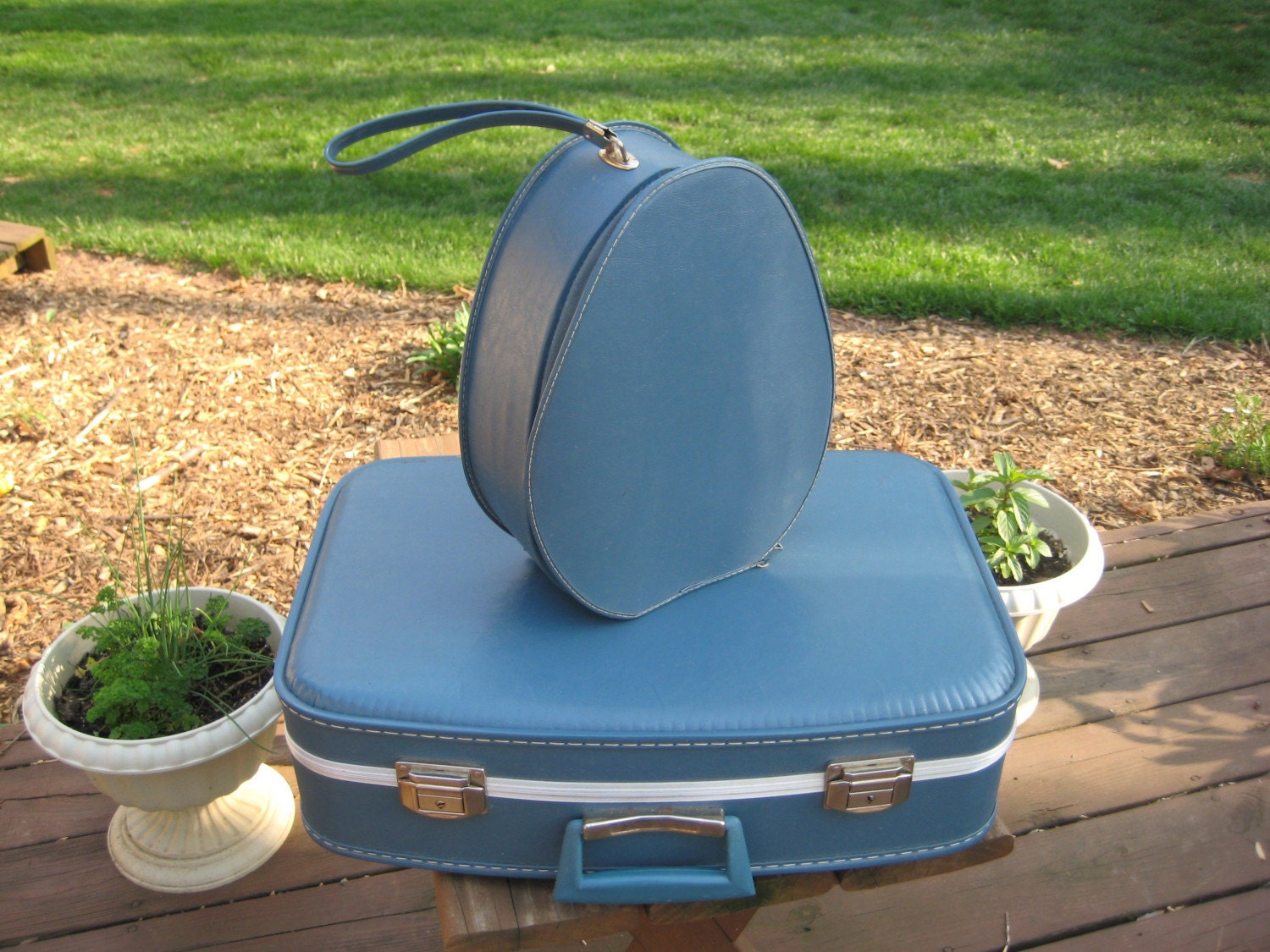 Vintage Blue Luggage Set / Suitcase and Shoe Bag or Wig Box