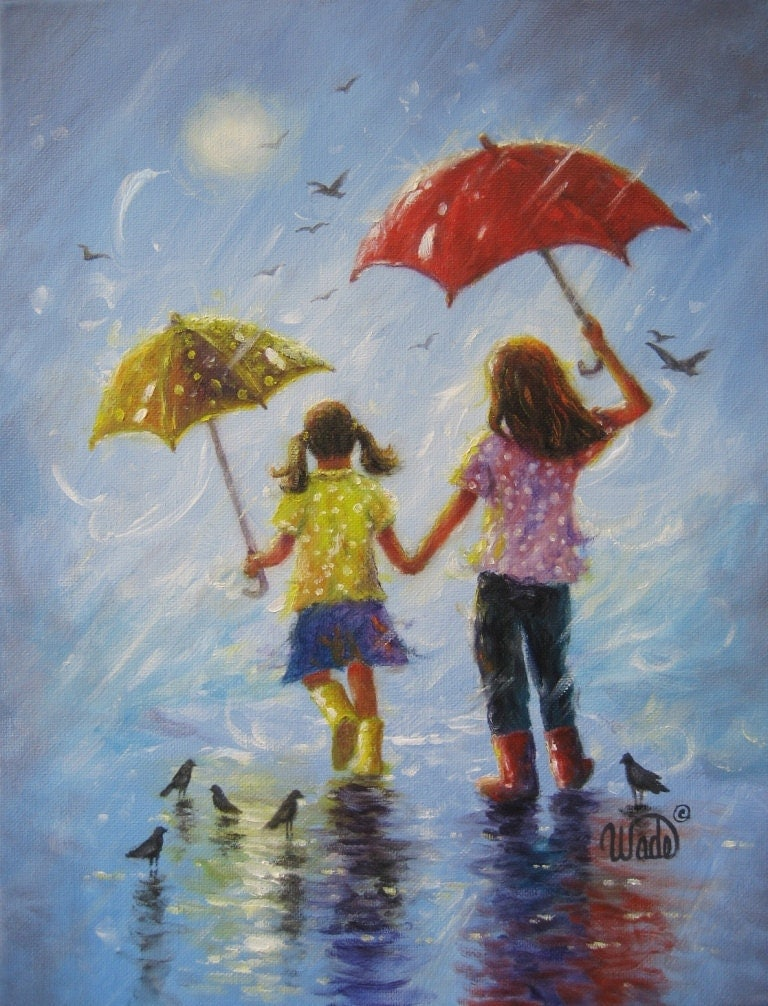 Rain Sisters art print, two sisters, kids wall art, girls decor, singing in the rain, prints, two girls,childrens art, Vickie Wade art - VickieWadeFineArt