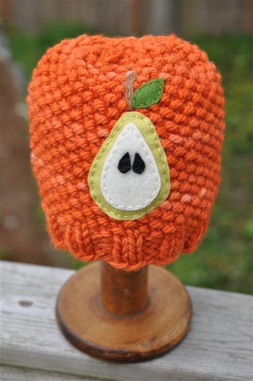 Fruity Hat - Pear, Newborn Sized, Carrot
