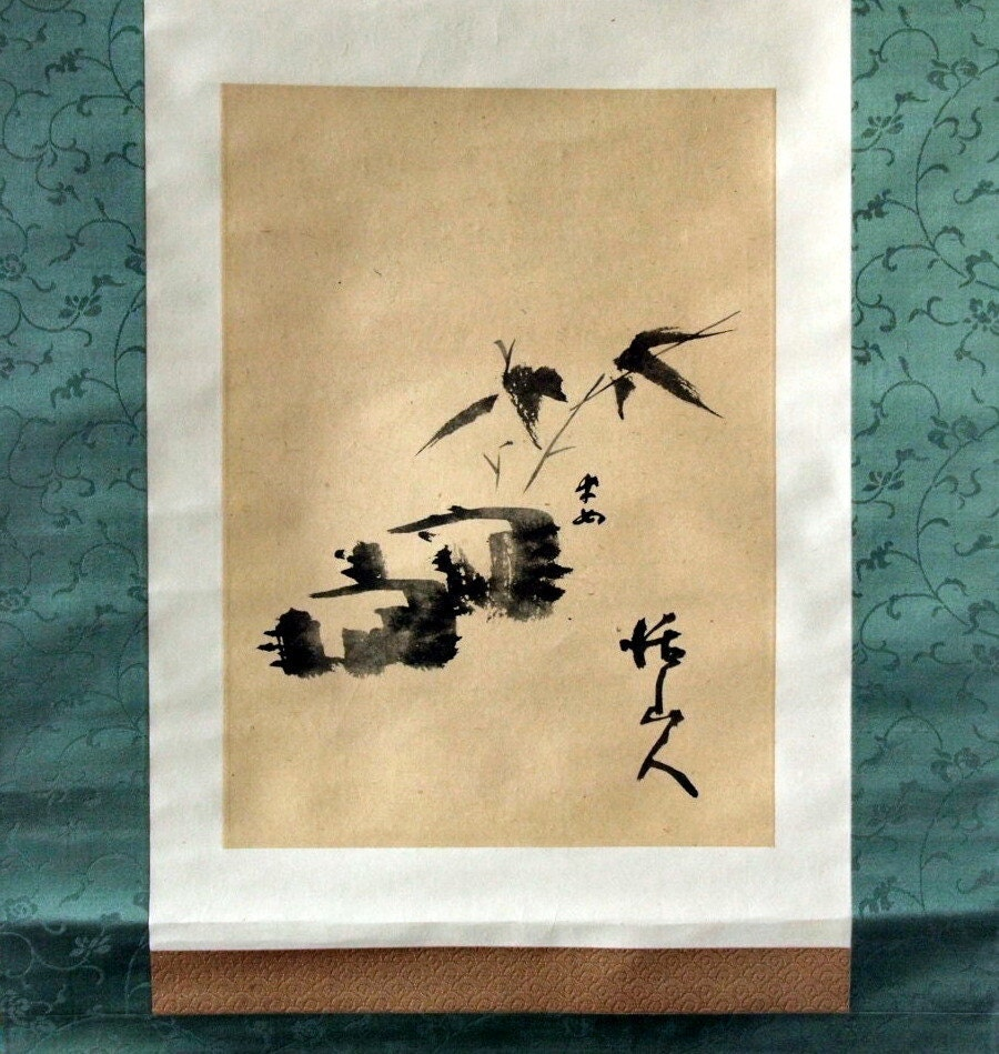 Antique Japanese Scroll: 1940s Vintage Handpainted Japanese Scroll. By Bananastrudel