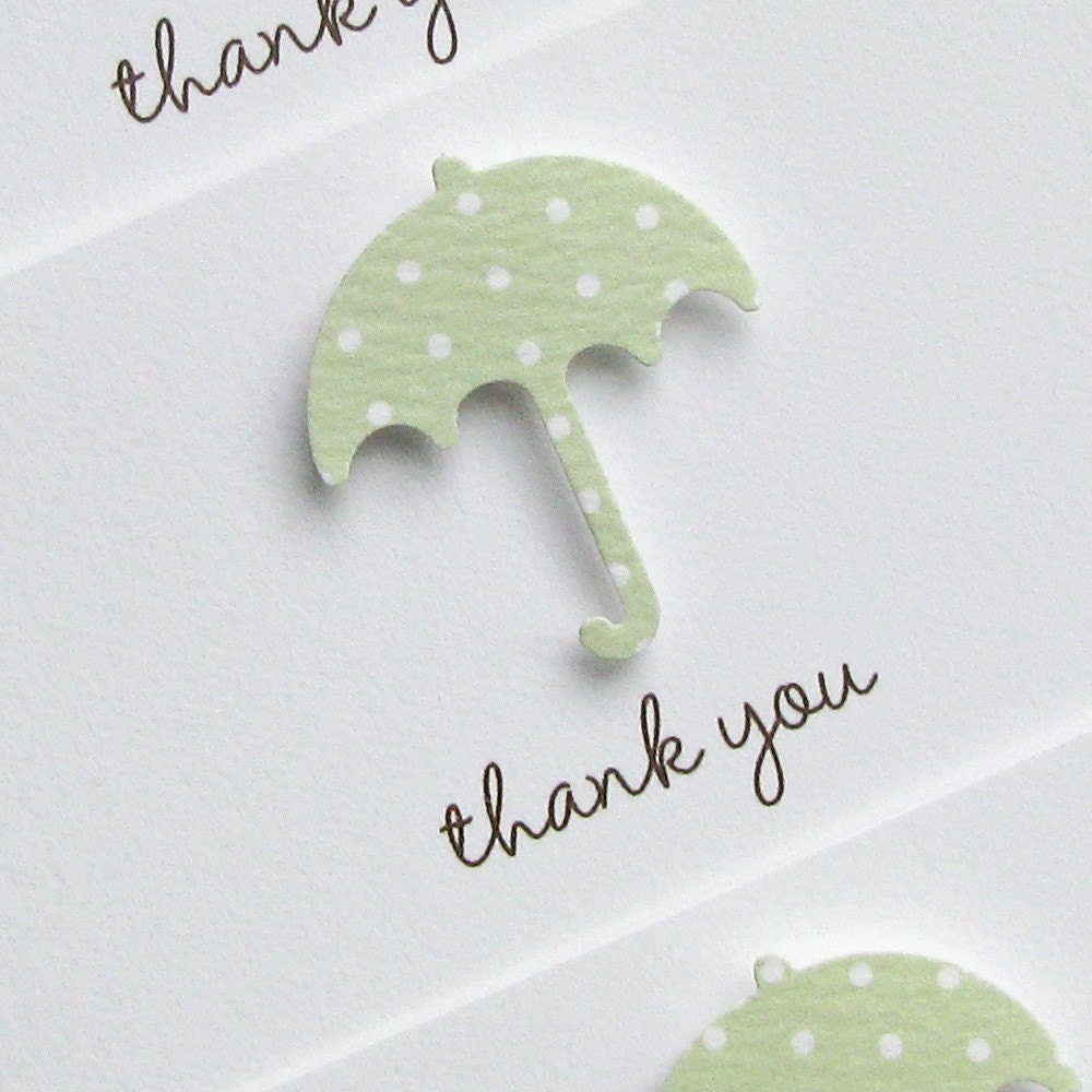 baby shower or new baby thank you notes - celery umbrella with chocolate enevlopes on white cotton cover stock