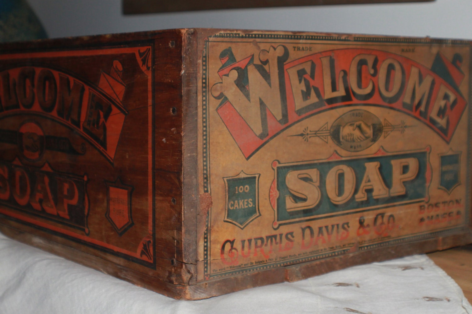 Vintage Wooden Advertisement Crate