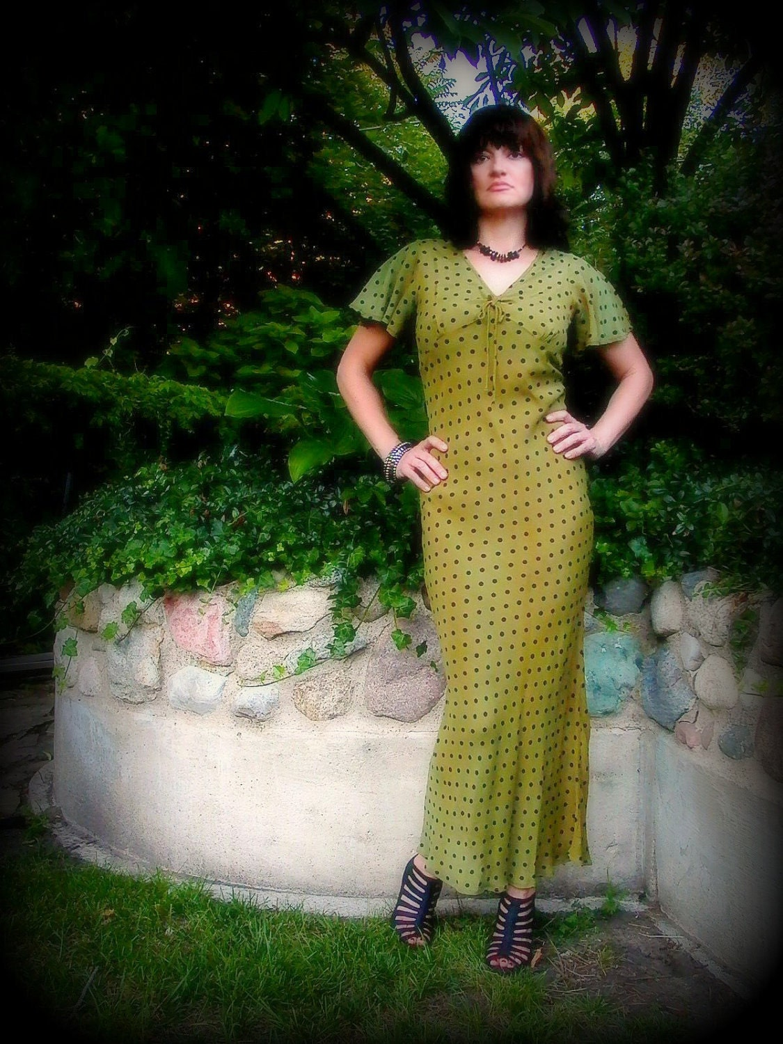 Vintage Green Dress 30s - 80s Bias Cut Olive with Black Polka Dots and Flutter Sleeves, Fishtail Hem - TAGT Team - Fire Grog Studio