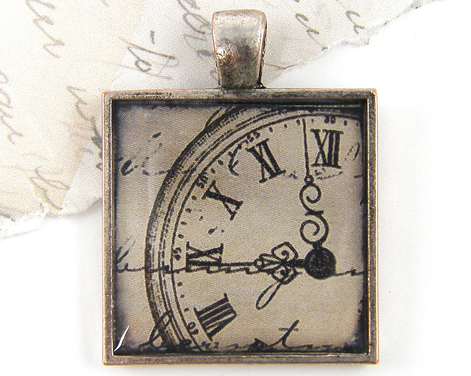 Clock Pendant - Steampunk Grunge Black Tan Gray Silver Timekeepers Square Resin Jewelry - CharleneSevier