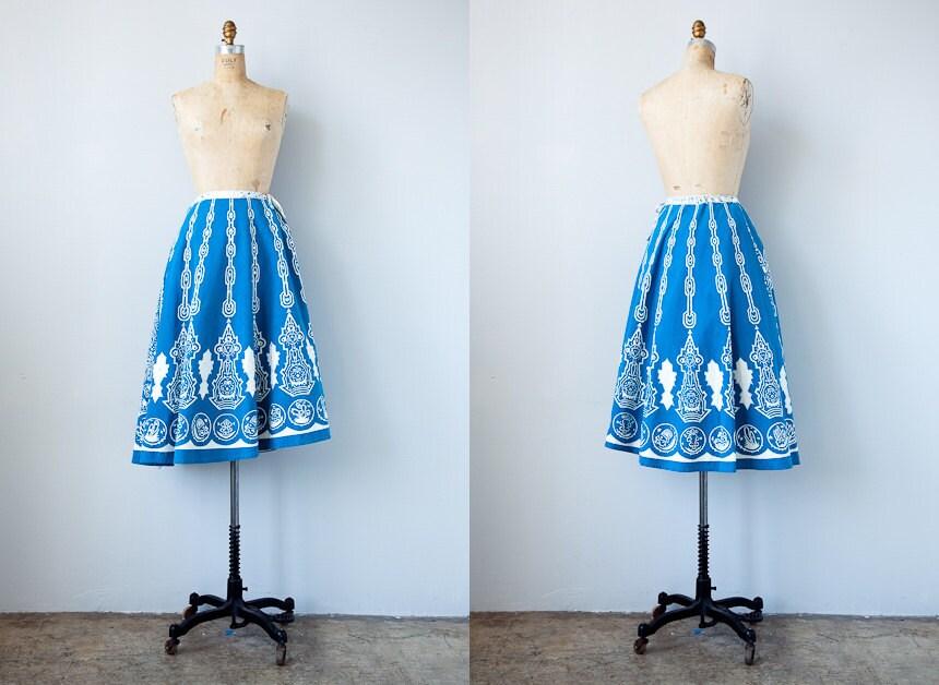 vintage 1950s skirt / vintage 50s swing skirt / ethnic boho vintage 1950s circle skirt