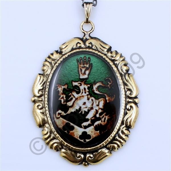twilight jewelry cullen family crest gold and green