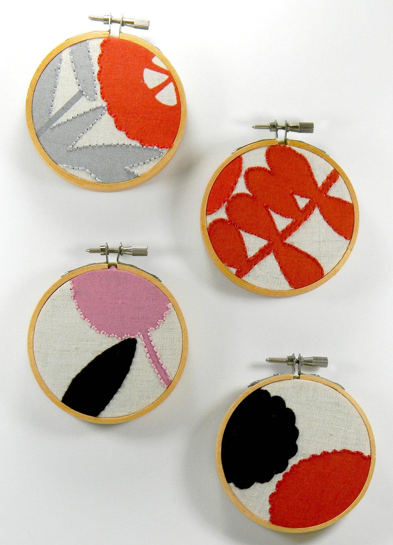 Set of 4 Ultra Mini Fall Design Embroidery Hoop Art