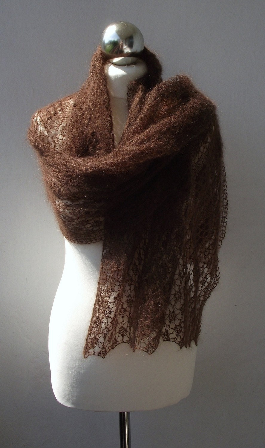 Chocolate Mousse hand knitted lace shawl