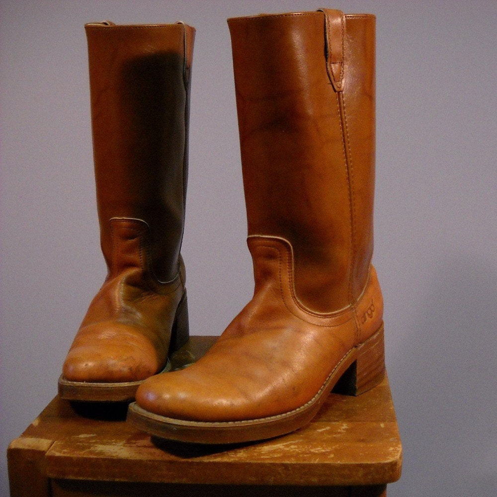 vintage mens 70 s brown leather dingo boots by