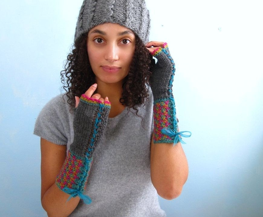 Pink, Ochre, and Aqua Tweed Effect Fingerless Ganutlets. Handknit