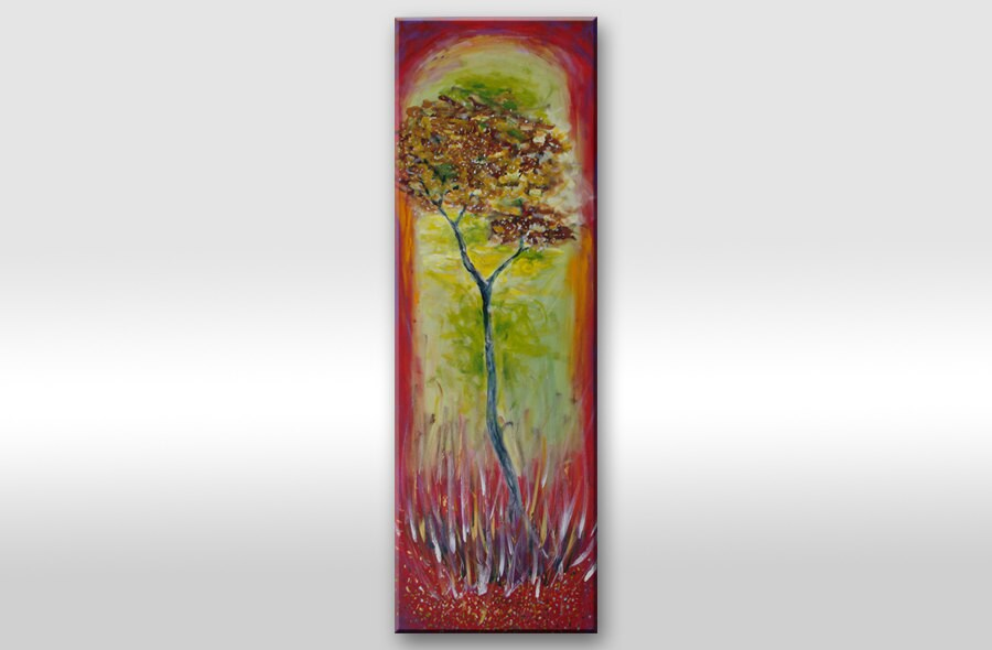 PAINTING Large Tree Original Modern Abstract Contemporary Art On Canvas Africa Nature Wild Big landscape artwork wall decor Red-green-brown - AstaArtwork