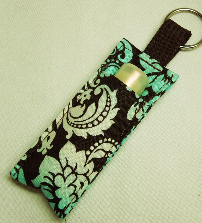 ... case, ChapStick Keychain, lipstick holder Lipbalm case cozy-Aqua Brown