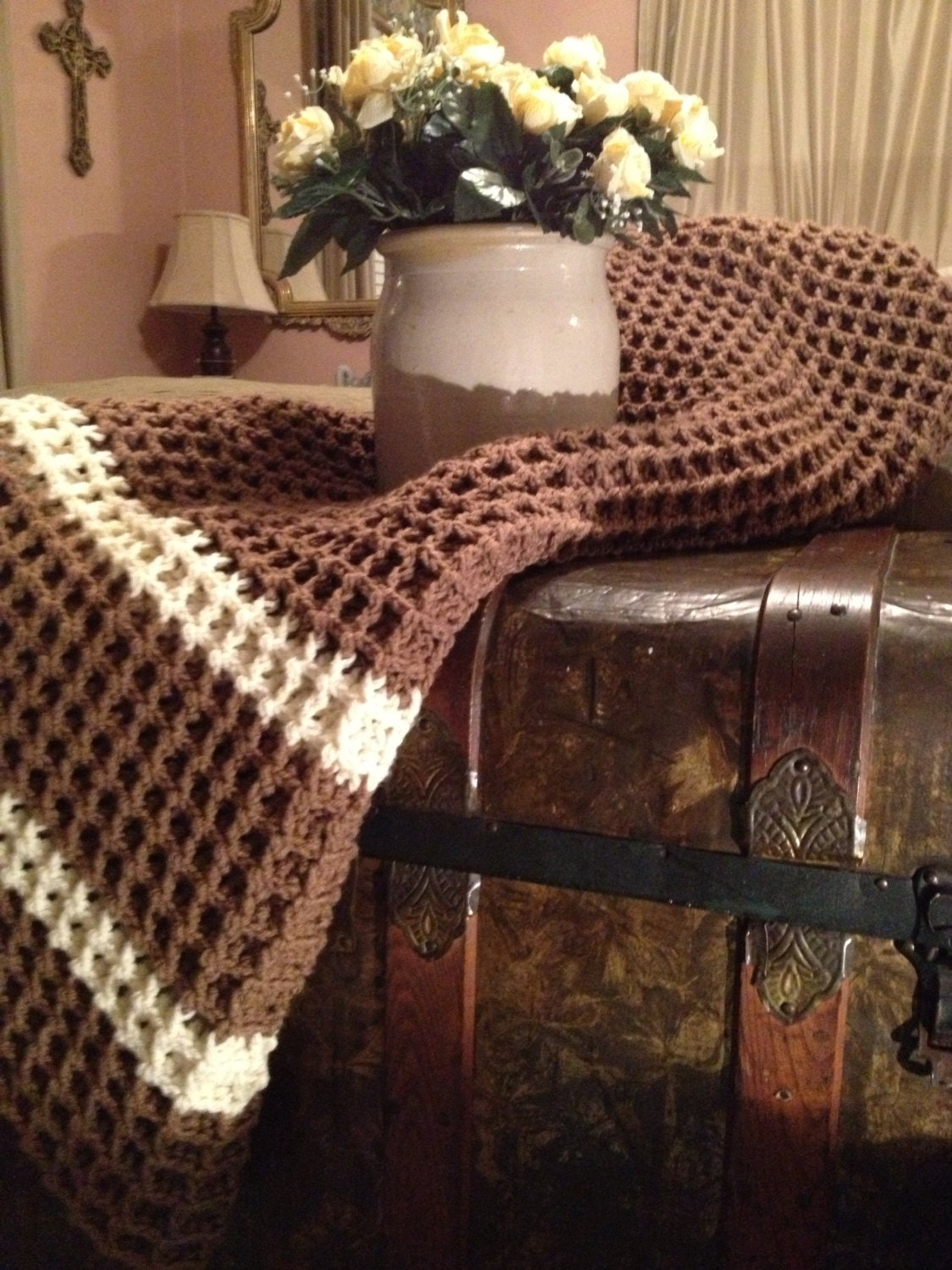 Crochet Stitches Waffle : Crochet Afghan, Brown Waffle Stitch . Made to order ...