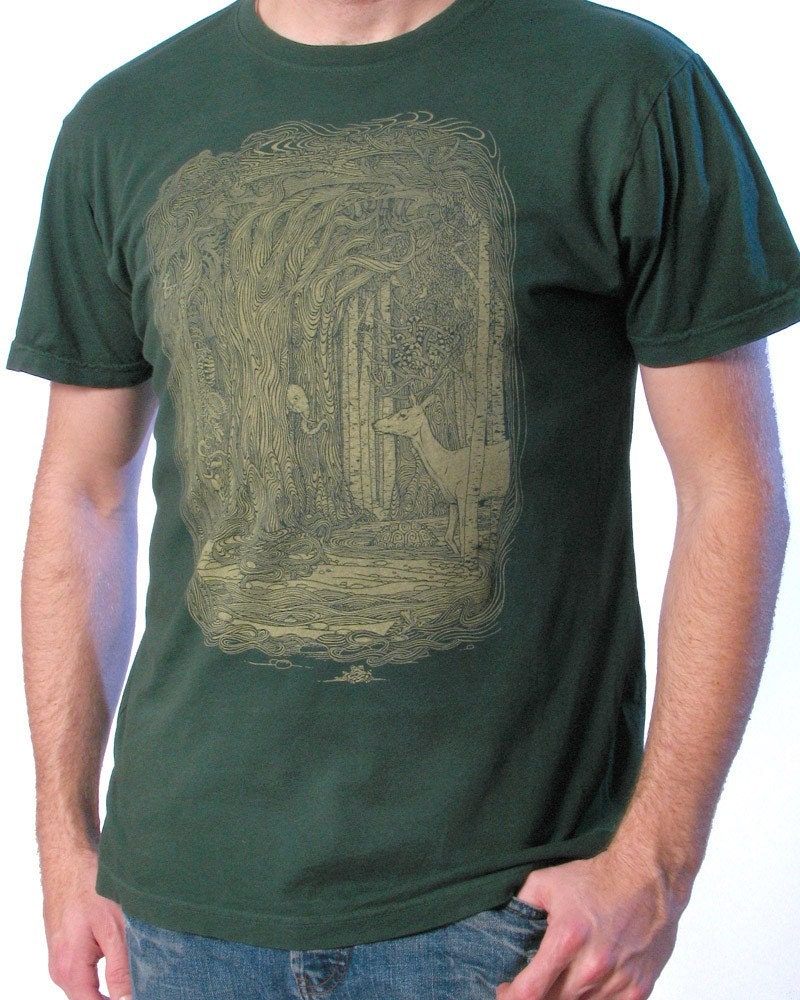 Tangled Forest T-shirt on Green ..... Men's Tee Shirt S M L XL 2XL