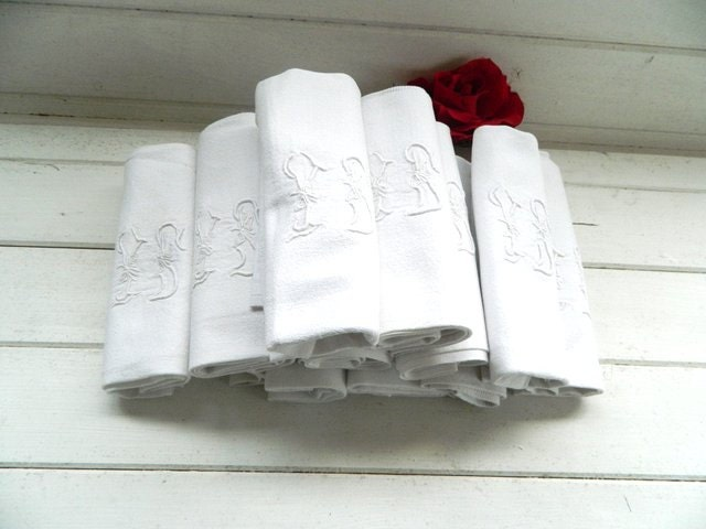 12 large damask French table napkins, serviettes, tea towels, White with monogram. Table cloth. Discount for multiple buys. - frenchvintagedream