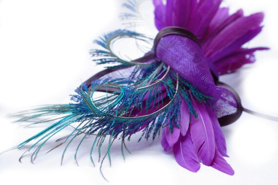 Purple-Straw-Bow-Peacock-Cocktail-Hat-Headpiece-Head-Trim-Weddings-Races-Party-Halloween - EllaGajewskaHATS