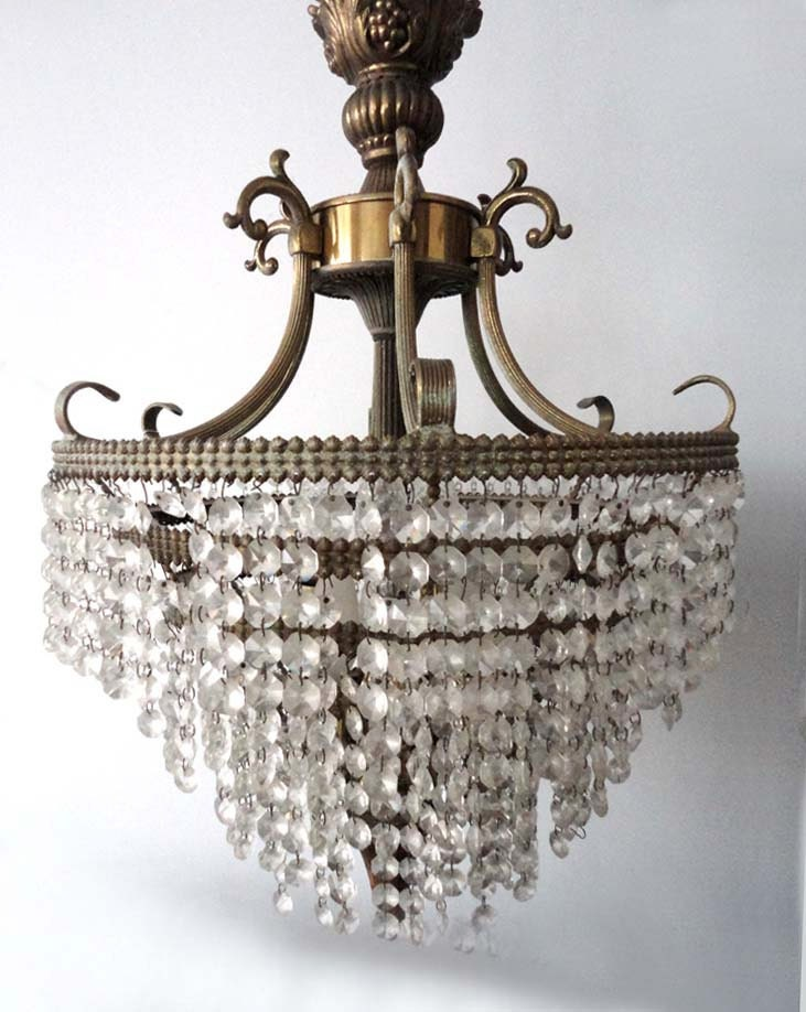 Large Antique Crystal & Gold Chandelier