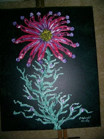 Unusual Flower 16x20 inch acrylic painting on stretched canvas FREE USA SHIPPING