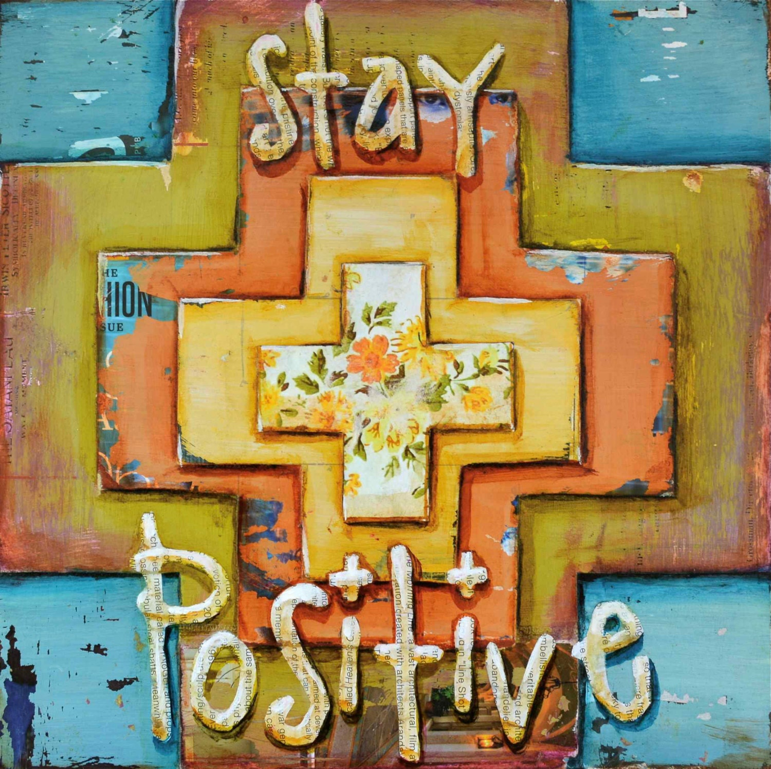 "Positive, positivity, ""Stay Postive"", Original mixed media Collage 10x10 - dannyphillipsart"