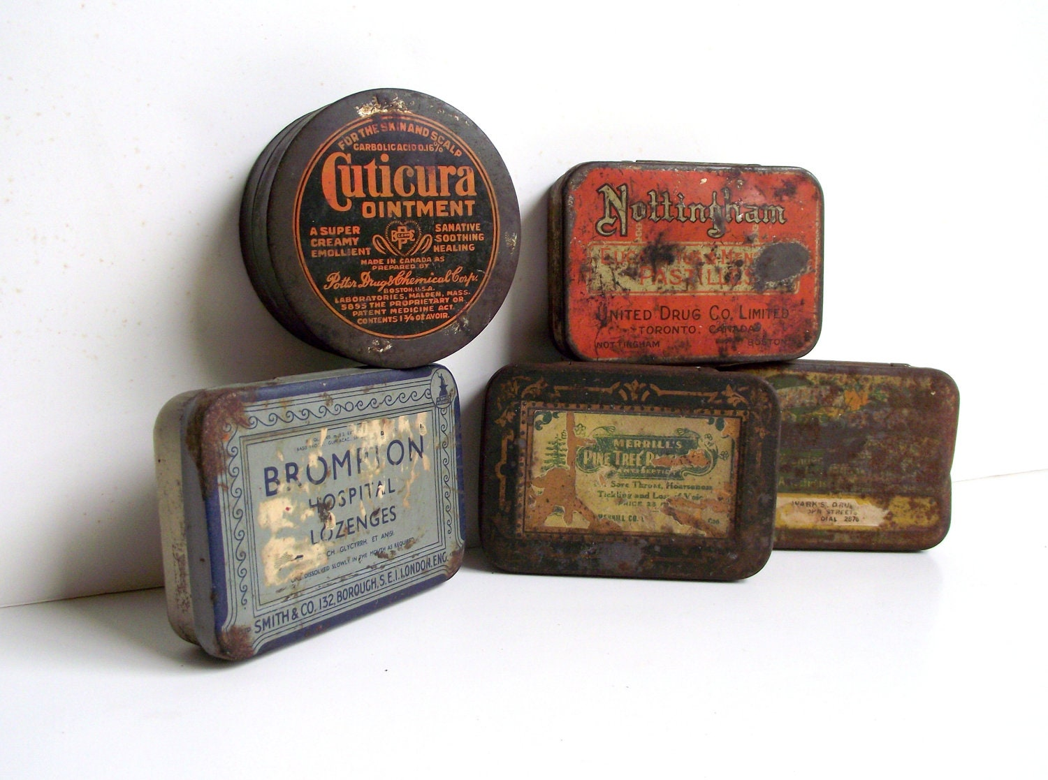 Advertising Pharmaceutical Tins Antique Ointment and Lozenges Tins Set of 5 Storage Rustic Farmhouse Cottage Chic Industrial Decor