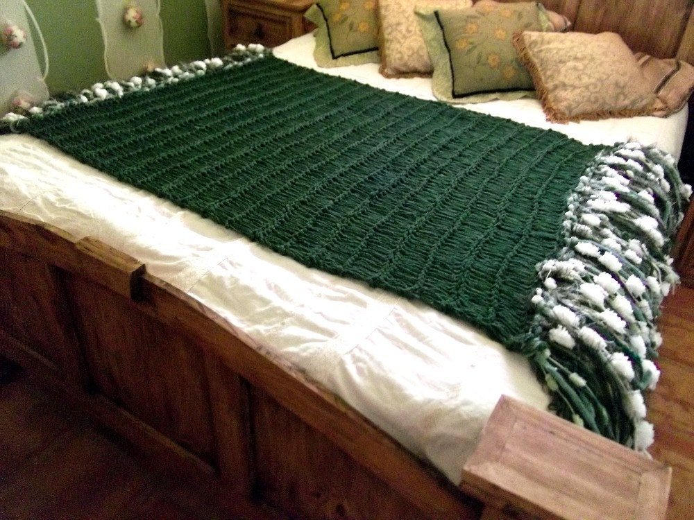 Emerald home decor afghan emerald decor emerald by - Emerald green throw blanket ...