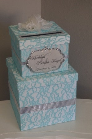 Tiffany Blue lace Wedding Card box -Lace card box, with rhinestones and bling monogram - ForeverLoveNotes
