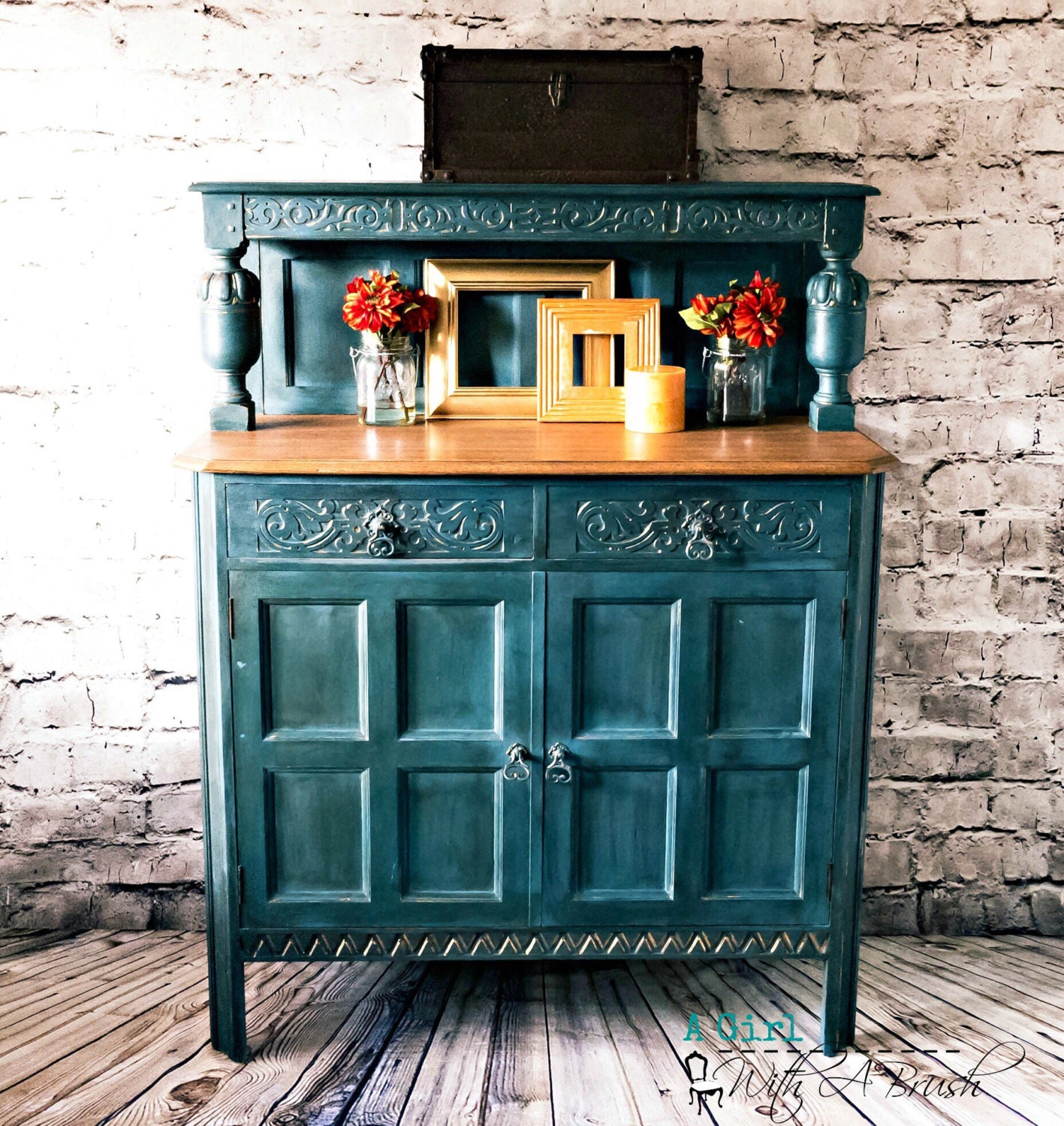 Antique Sideboard Upcycled Sideboard Painted cupboard Vintage Cabinet Shabby Chic Cupboard Waring  Gillow Court Cupboard SOLD