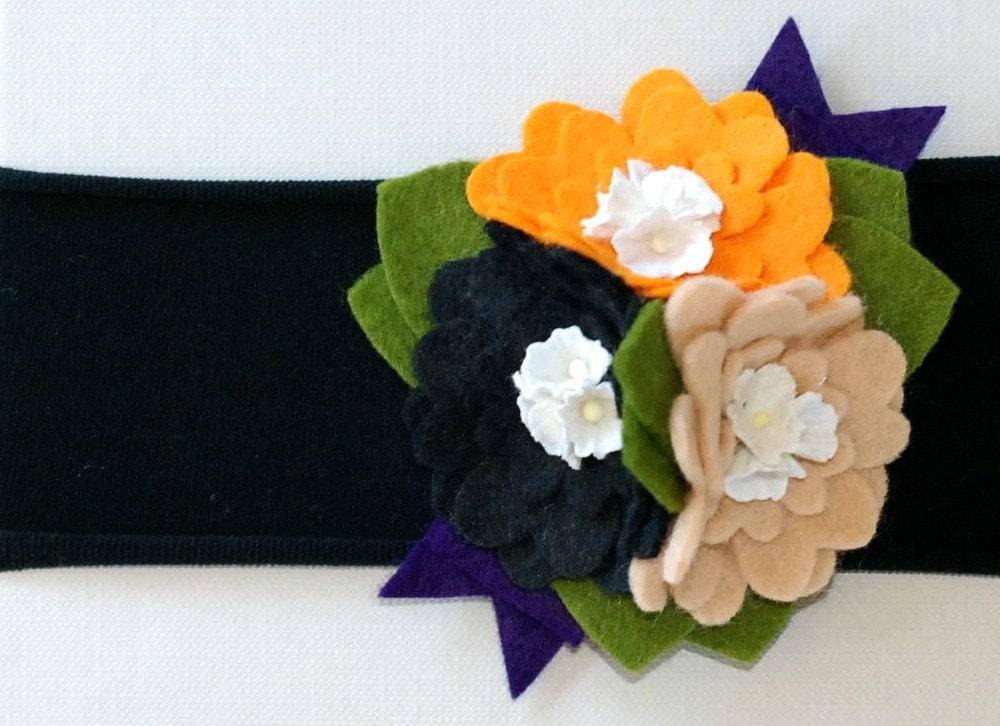 hocus pocus felt flower bouquet with millinery centers