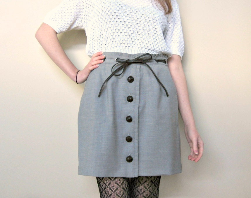 90's Grey Button-up / Bow Skirt