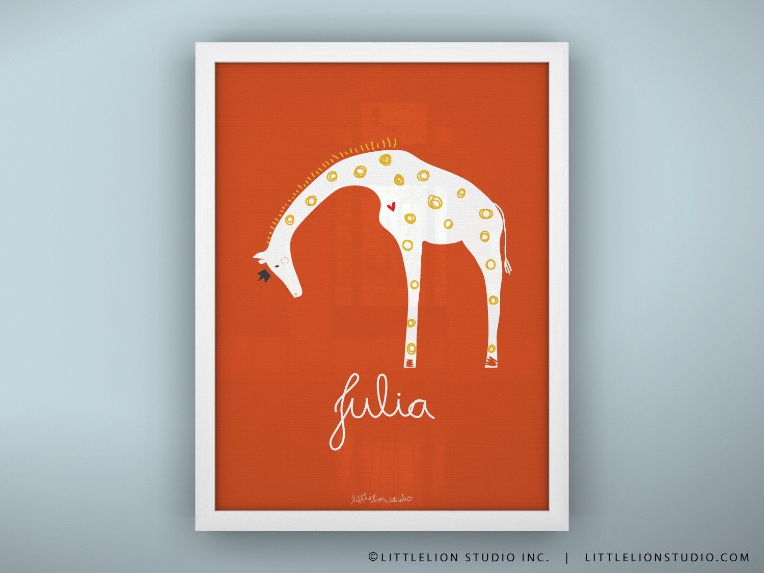 Queen Giraffe Custom Baby Nursery Print - Unframed