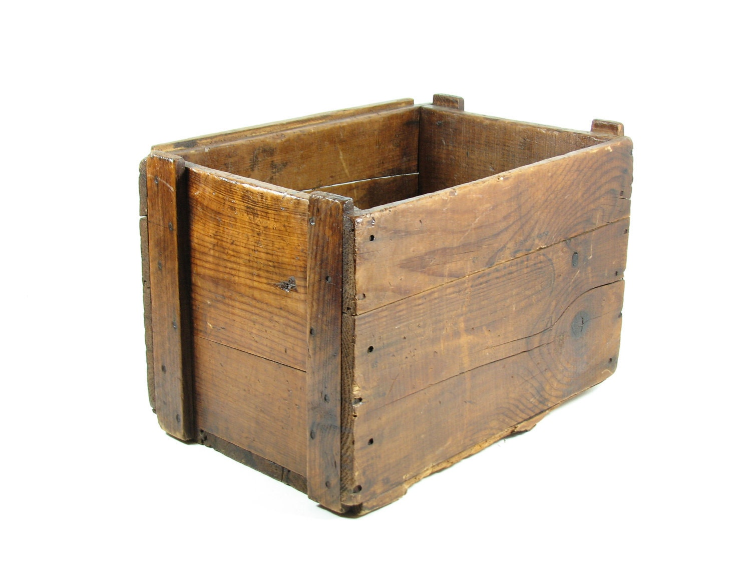 Vintage wood crate wooden box caramel brown by bridgewoodplace for Timber crates