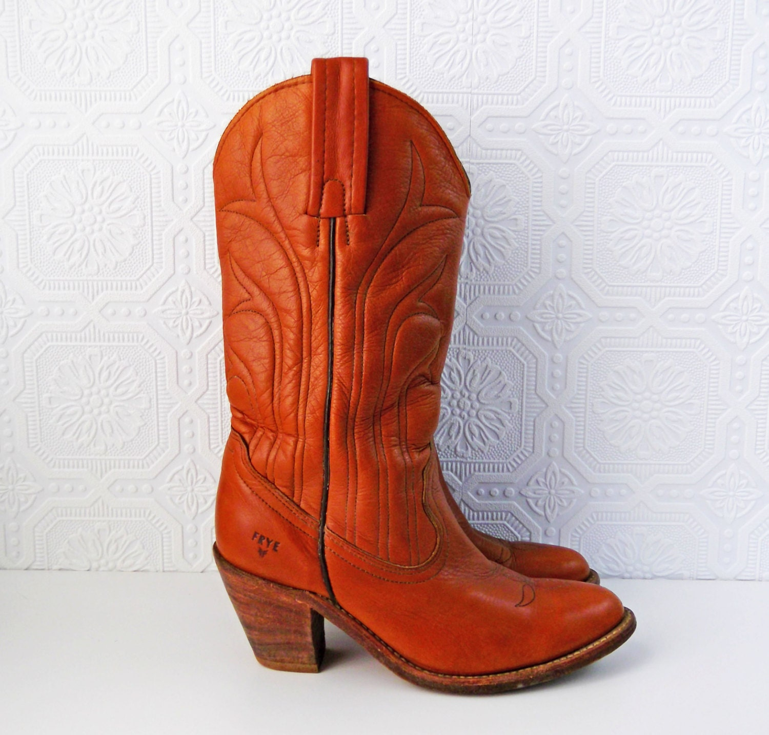 frye cowboy boots high heeled boho boots by calicobloomvintage