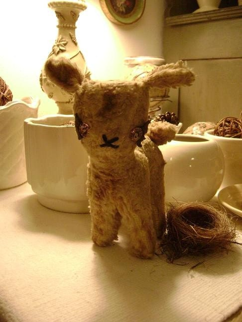 Pre-1950's Little Child's Stuffed Lamb at Nestbox Vintage