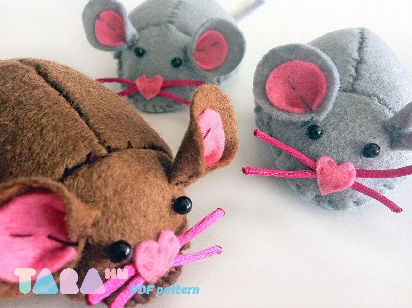 Diy felt pattern mouse fabric mouse toy instant by for Felt cat toys diy