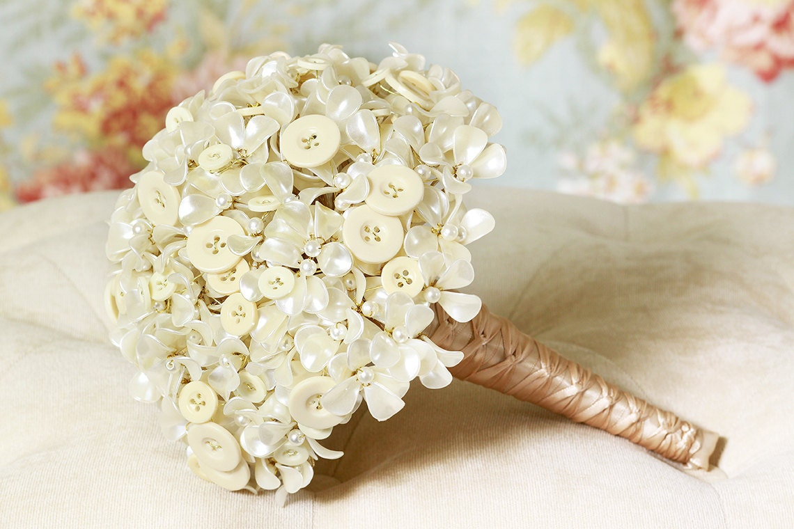 Wedding Flowers - Button Bouquet with Ivory Pearl Hydrangea Beaded Flowers - Wedding Bouquets - Great Brooch Bouquet Alternative