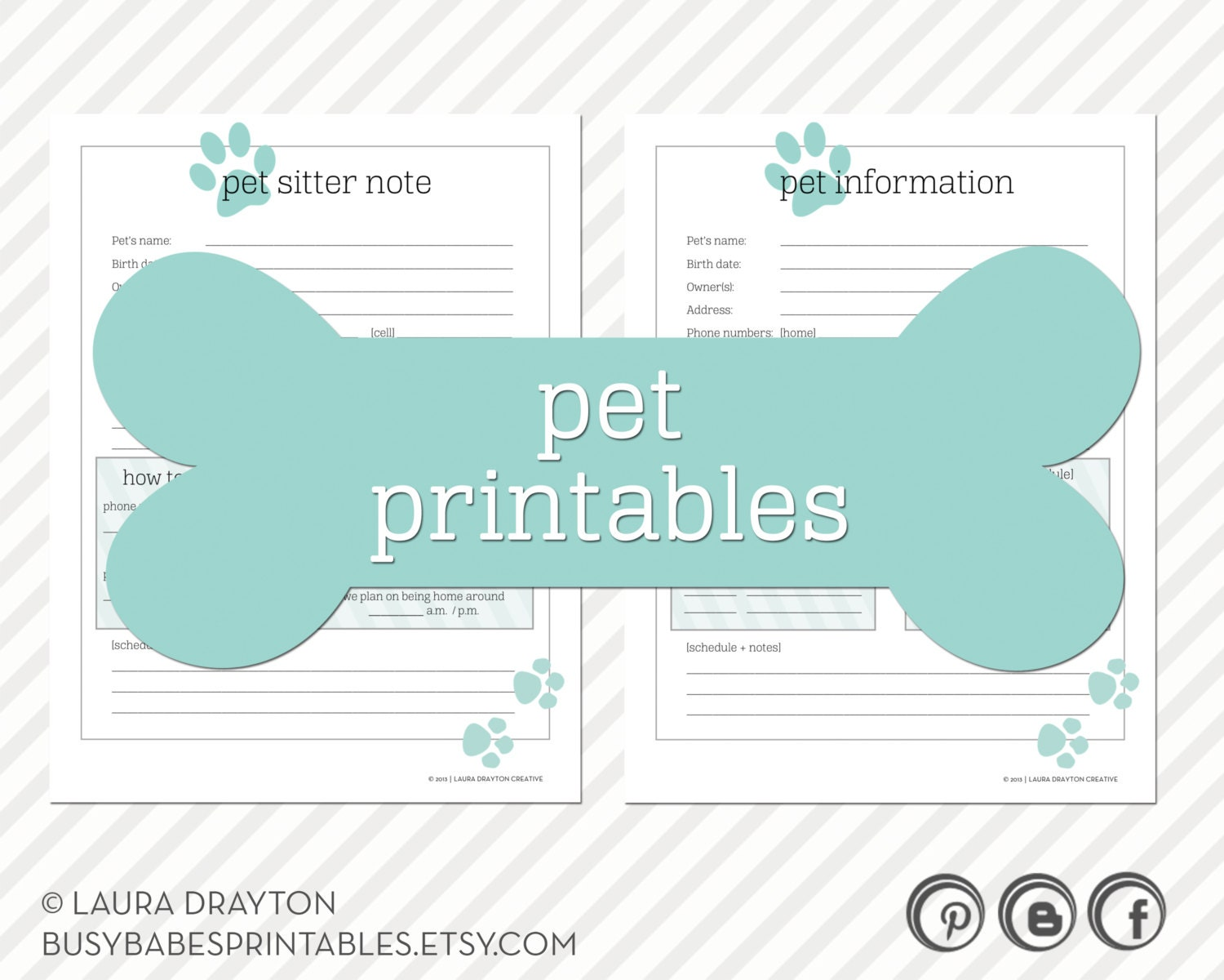 Pet Printables - Pet Information and Pet Sitter Note - INSTANT DOWNLOAD