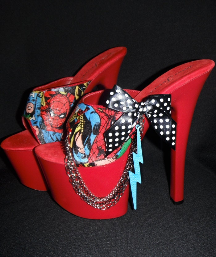Amazing Custom Avengers High Heel Platforms ...STORM PRINCESS... Size 7