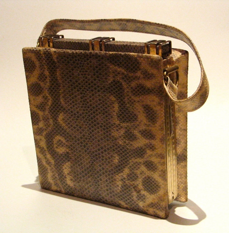 Vintage 1940s Snakeskin Handbag with Coin Purse