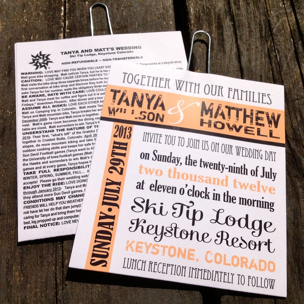 Ski Lift Ticket Wedding Invitations Sample By FreshPaperStudios