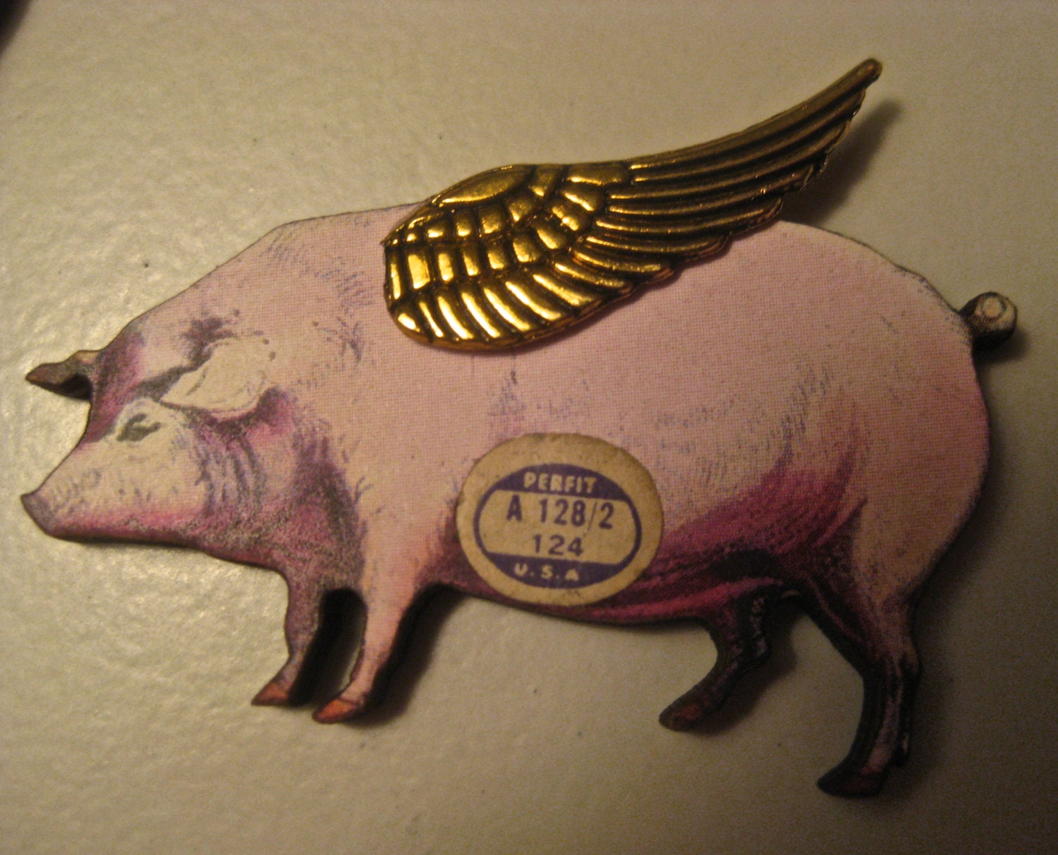 When Pigs Fly wood brooch with metal wings, vintage paper watch ...