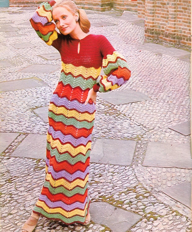 Vintage Crochet Pattern PDF 095 BoHo ZigZag Maxi Dress from WonkyZebra
