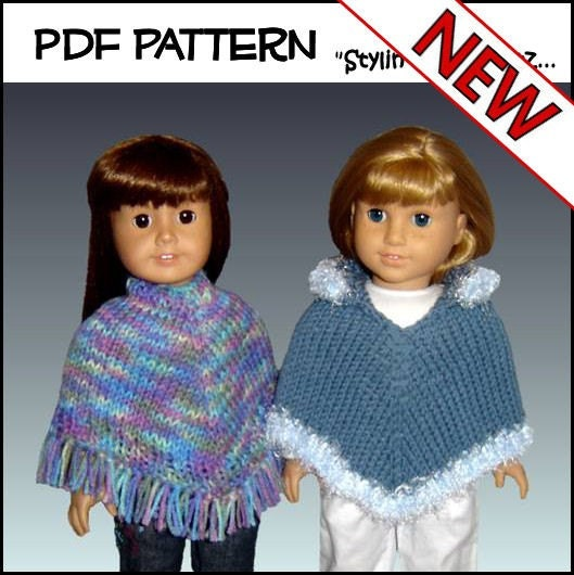 Knitting Pattern For Dolls Poncho : Knitting Pattern Doll Clothes Poncho Fits by StylinDollKnitz