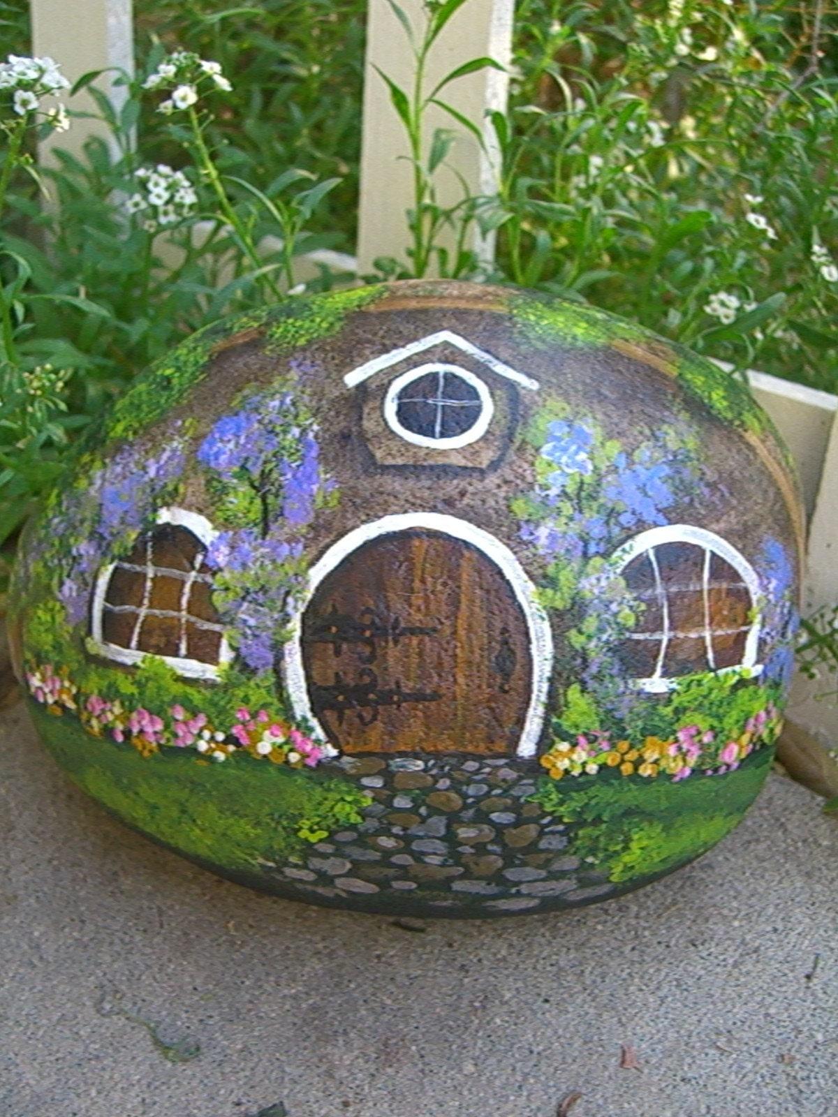 Hobbit House Painted Rock Art By Mygardenrocks On Etsy