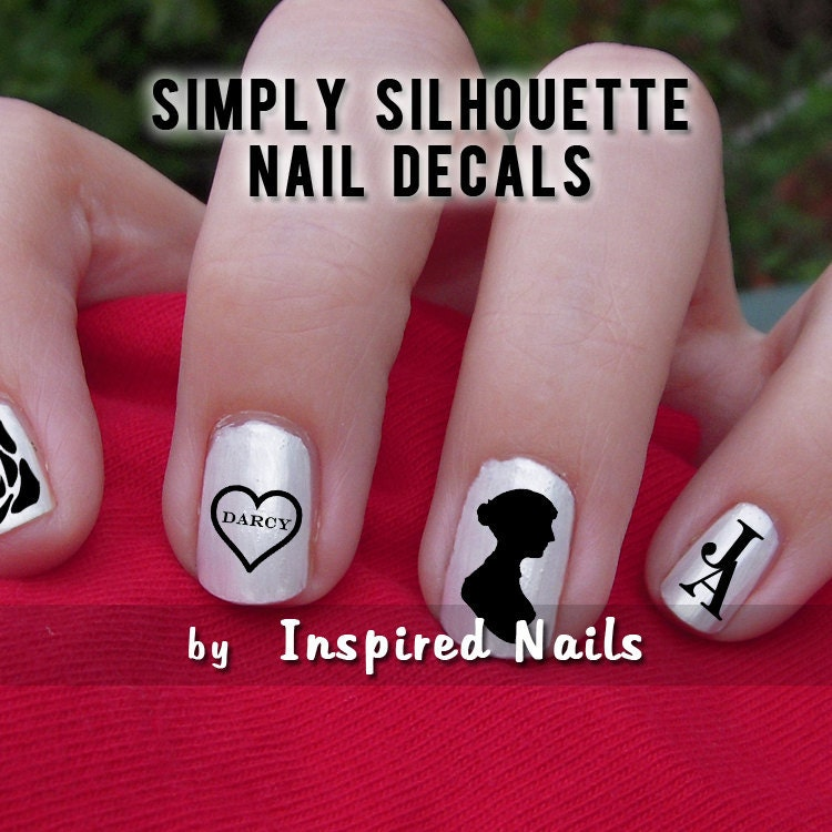 Jane Austen Nail Decals Black and Clear Simply Silhouette by Inspired Nails