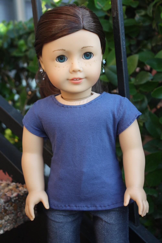 Plain Blue Tee Shirt for American Girl Dolls