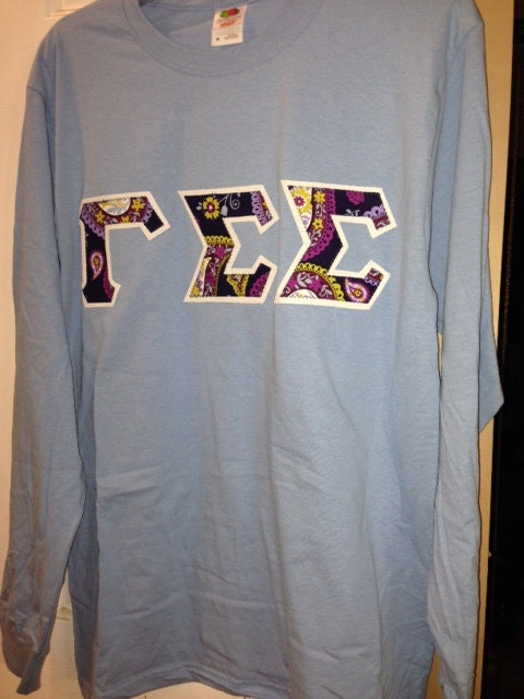 Greek Stitch Letter Long Sleeve Shirt By Kandkwhimsies On Etsy