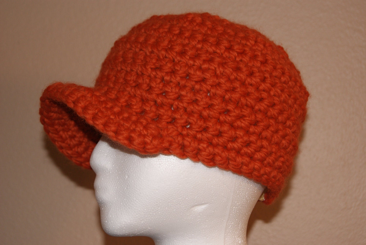 Beanie Hat With Bill Crochet Pattern : Items similar to Orange Chunky Thick Beanie Bill Cap ...