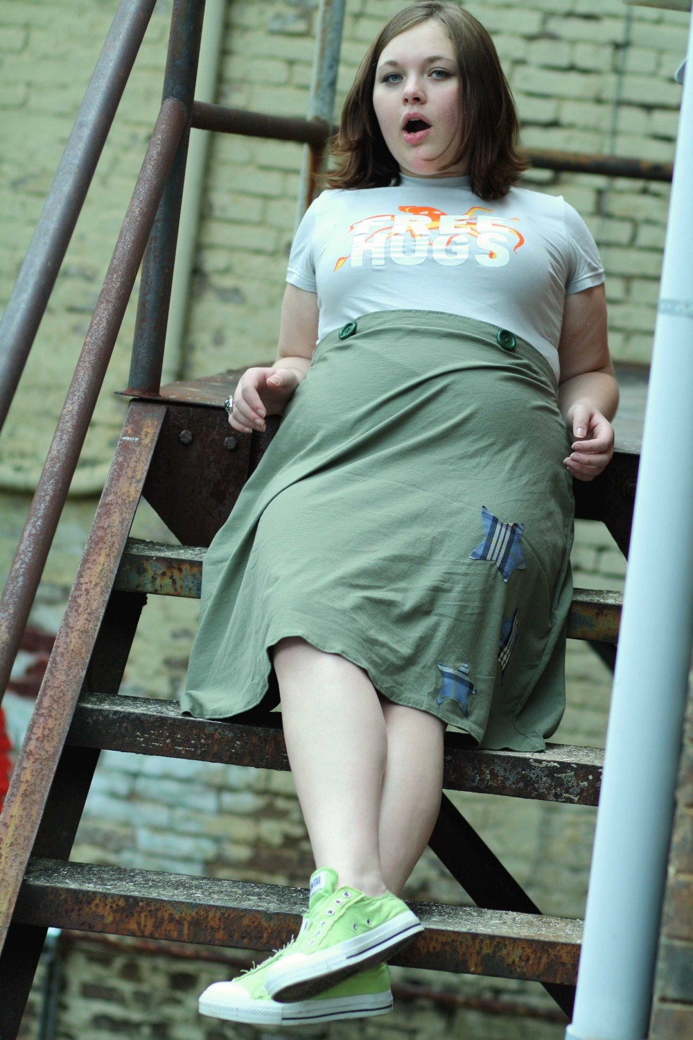A - Line Skirt with Buttons . Made to Measure.''Star''