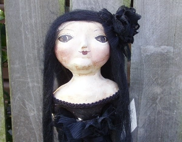 Primitive Folk Art Halloween Cloth and Clay Doll  MADAME RAVEN